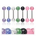 Surgical Steel Barbell with UV Color Ultra Glitter Ball (Sold Individually) - 14 GA - Thumbnail 0