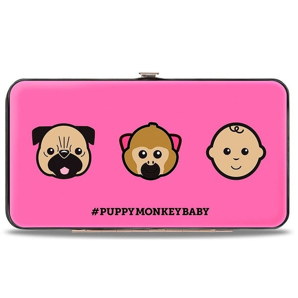 #Puppymonkeybaby + Cartoon Faces Scattered Pink Black Hinged Wallet - One Size Fits most