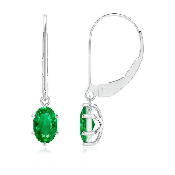 4e3771264d8cd Shop Angara 6x4mm Leverback Six Oval Emerald Drop Earrings in 14K ...