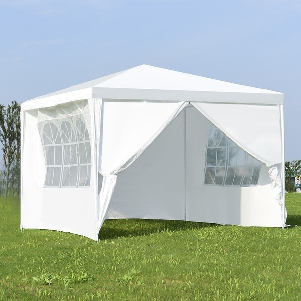 Costway Canopy Party Wedding Event Tent 10'x10' Heavy Duty Outdoor Gazebo Side Walls - White
