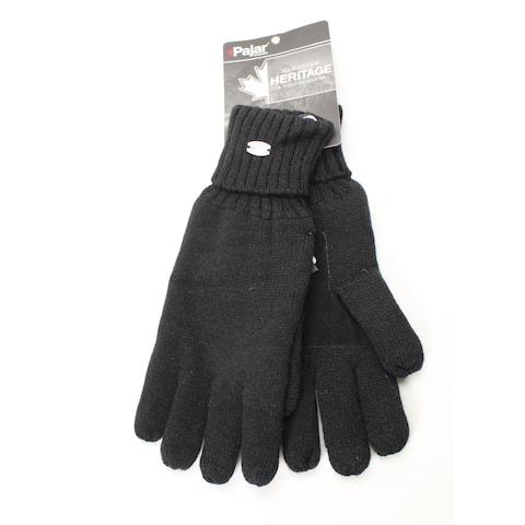 Pajar Canada Men's Gloves Black Size M/L Eli Knit Suede Palm Winter