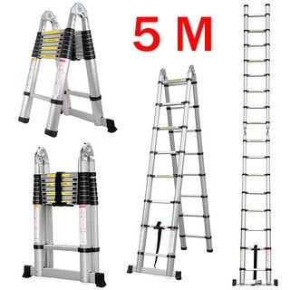 5M / 16.4Ft. Aluminum Folding Extension Ladder with Hinges, EN131 Certified, Heavy Duty 330Lbs