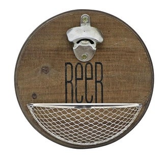 Link to Foreside Home & Garden Rustic Wood Wall Mount Beer Bottle Opener with Metal Basket - 3x9.5x9.5 Similar Items in Glasses & Barware