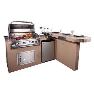 """Aspen 2 Piece 5'6"""" With 6' Bar Outdoor Kitchen BBQ Island Grill"""