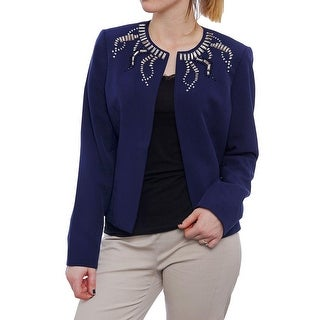 Kasper Women Embellished Neck Open Front Jacket Basic Jacket Indigo
