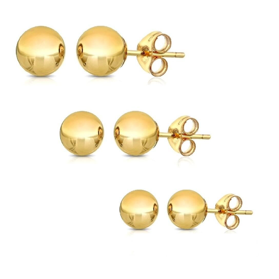 Three dot threader earring 14k ball threader 14k threader stud gold three ball pull through earring pull through earring single