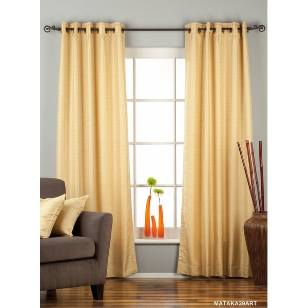 Golden Ring Top Matka Raw Silk Curtain / Drape / Panel - Piece. Opens flyout.