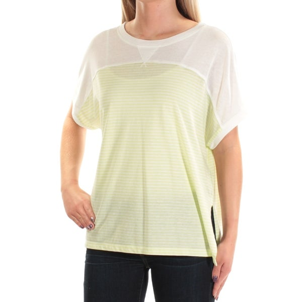 0fb070fd2c536e Shop TOMMY HILFIGER Womens Green Slitted Striped Short Sleeve Jewel Neck  Top Size  S - On Sale - Free Shipping On Orders Over  45 - Overstock -  22426466