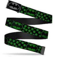 Batman Reverse Brushed Black Silver Black Chrome Bat Shield Clovers Web Belt