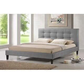 Baxton Studio Quincy Gray Linen Platform Bed - Queen Size