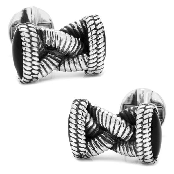 Sterling Braided Onyx Rope Cufflinks