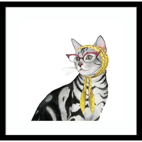 Cool Cat III by Grace Popp 19-inch x 19-inch Framed Wall Art Print