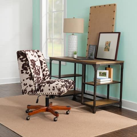 Brown & White Cow Print Plush Office Chair