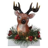 "8"" LED Lighted Reindeer and Holly Berry Christmas Stocking Holder - brown"