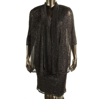 R & M Richards Womens Metallic 2PC Dress With Jacket
