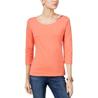 Tommy Hilfiger Womens 3/4 Sleeve Bow Neck Top Orange - M