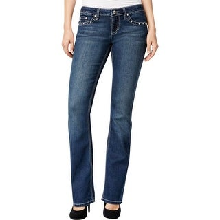 Project Indigo Womens Juniors Slim Bootcut Jeans  Low-Rise Embellished - 1