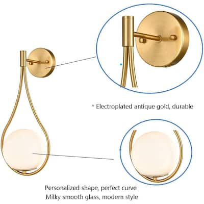 Porches Modern Brass Wall Sconce with Opal Globe Glass Shade 2-Pack - Natural Bras