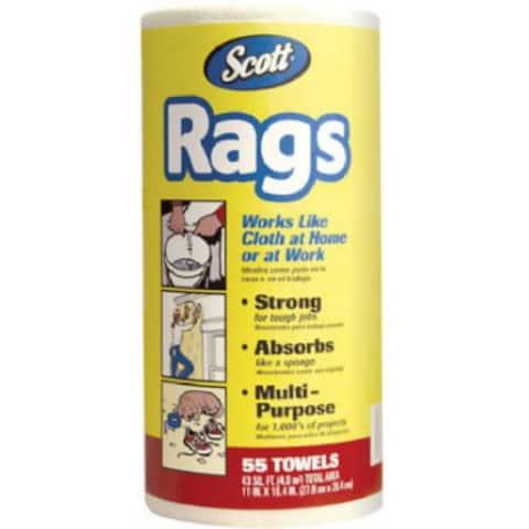 Scott 75230 Rags Paper Towel, White, 55-Count