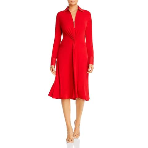 Donna Karan Womens Wear to Work Dress Fit & Flare Knee-Length - Red