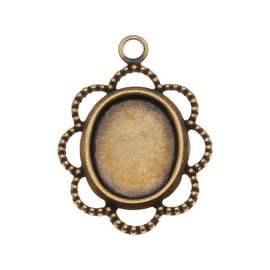 Antiqued Brass Oval Bezel Pendant With Beaded Floral Edge 8x10mm (4)