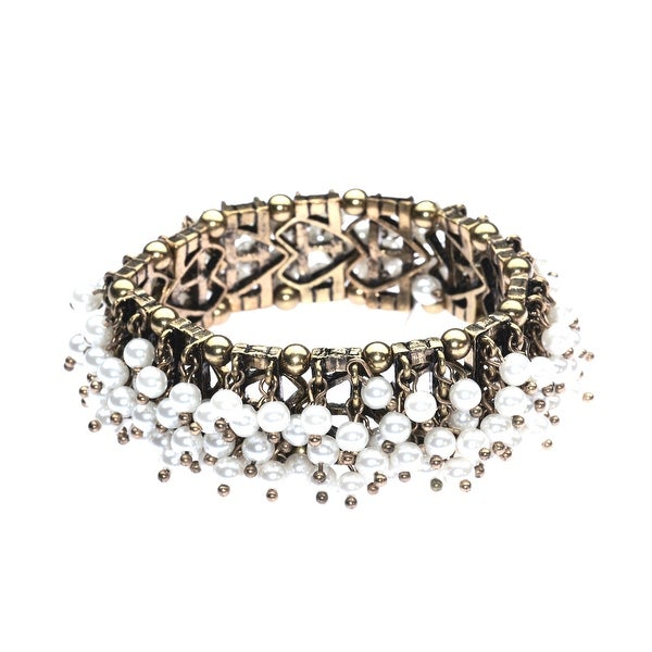 Sea Of Pearls Stretch Bracelet, White & Gold