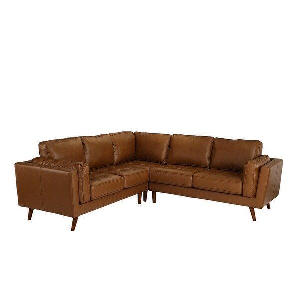 Mid Century Living Room Tufted Leather Match Sectional Sofa. Opens flyout.
