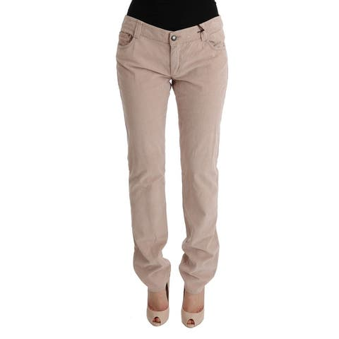 Ermanno Scervino Beige Cotton Velvet Regular Fit Women's Pants - it46-xl