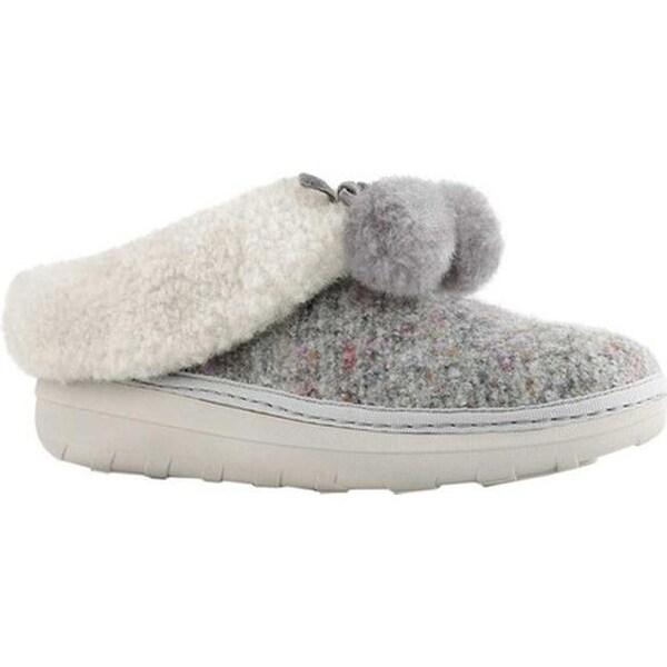 76db01da807814 Shop FitFlop Women s Loaff Snug Slipper Dusty Grey Pom Pom Textile ...