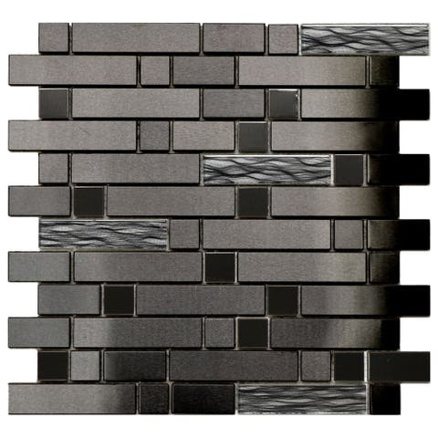 Black Stainless Black Wave Glass Tile 11.8x11.8 (11 tiles/10.63 Sqft)