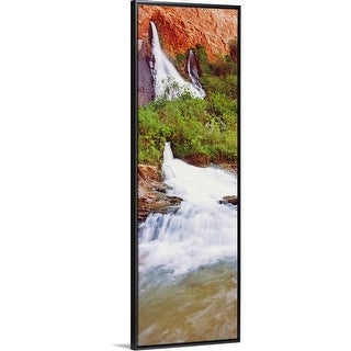 """Waterfall and rushing water at Vasey's Paradise, Arizona"" Black Float Frame Canvas Art"