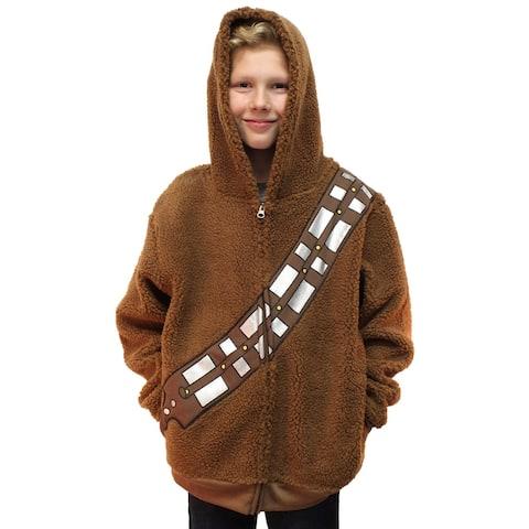 Star Wars Chewbacca Costume Hoodie Kids Youth Zip Up Sherpa Jacket