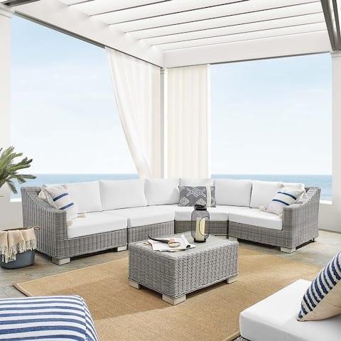 Conway Sunbrella® Outdoor Patio Wicker Rattan 5-Piece Sectional Sofa Furniture Set