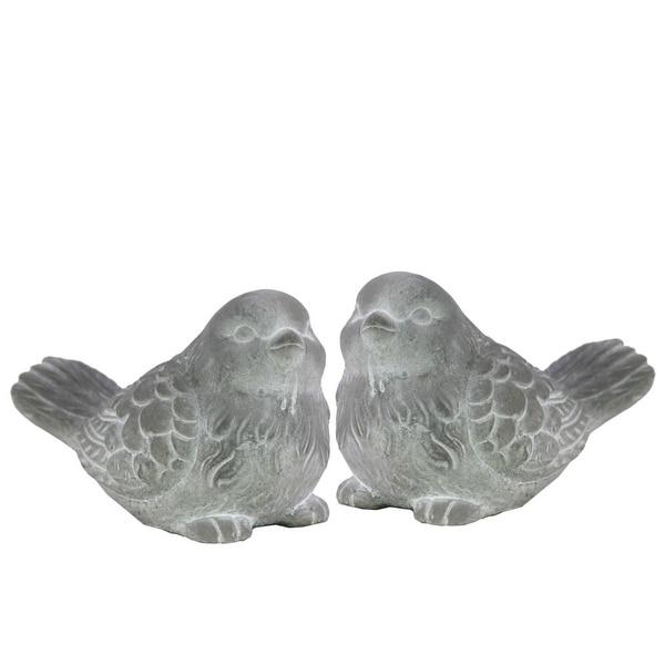 Cemented Designer Bird Figurine, Washed White, Assortment of 2