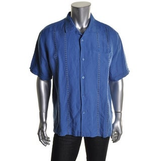 Cubavera Mens Linen Blend Embroidered Casual Shirt - S