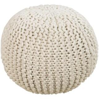 """18"""" Light Taupe Ball of Yarn Wool Round Pouf Ottoman"""