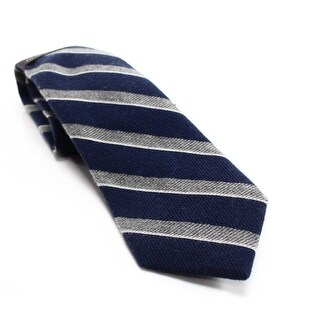 BLACK BROWN Blue Navy Textured Striped Mens Wool Blend Necktie