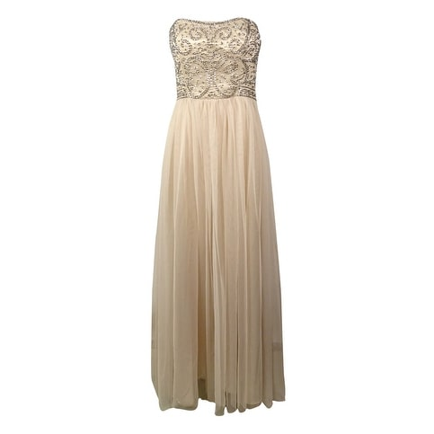 Xscape Women's Beaded Strapless Tulle Gown - champagne/silver - 6