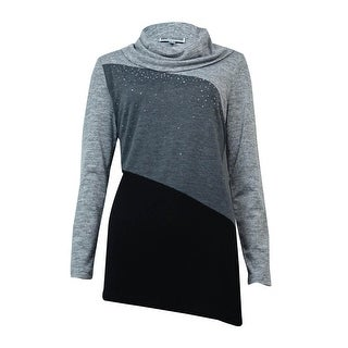 JM Collection Women's Cowl Rhinestone Colorblocked Sweater - Charcoal Heather - s