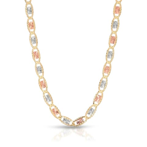 Mcs Jewelry Inc 10 KARAT THREE TONE, YELLOW GOLD, WHITE GOLD, ROSE GOLD NECKLACE (2MM)