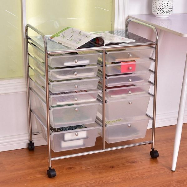 shop costway 12 drawer rolling storage cart scrapbook paper office school organizer free. Black Bedroom Furniture Sets. Home Design Ideas