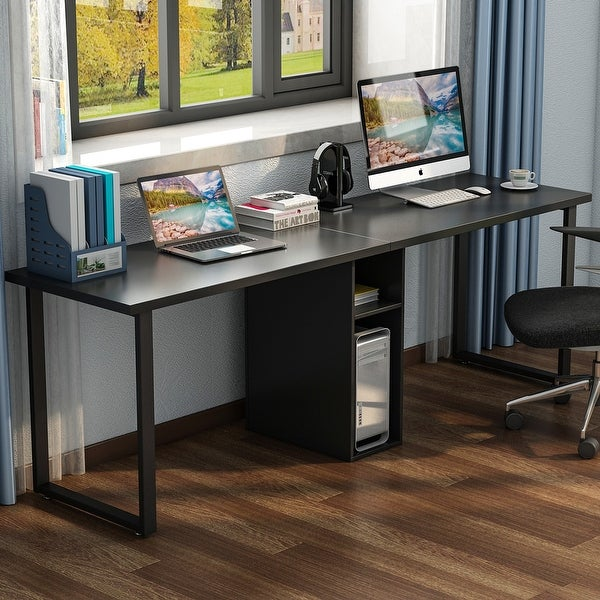 shop 78 extra large double workstation computer desk for. Black Bedroom Furniture Sets. Home Design Ideas