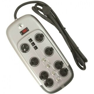 Woods 546518 3-Way Surge Protector with 8-Outlet, Gray, 3345 Joules
