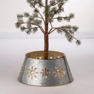 Glitzhome Christmas Snowflake Diecut Metal Tree Collar with Light String