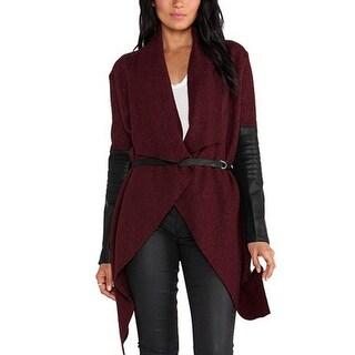 Lady Turn Down Collar PU Panel Open Front Irregular Hem Worsted Coat w Belt - Burgundy