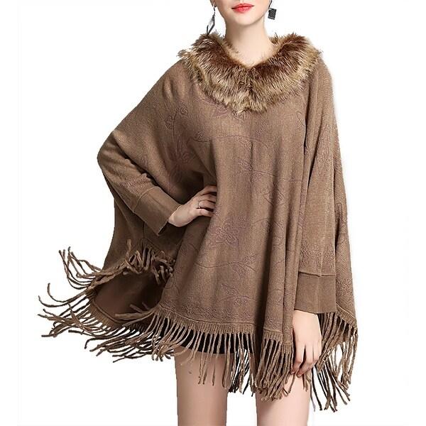 QZUnique Womens Collar Cape Shawl Tassel Fringe Pullover Batwing Cloak