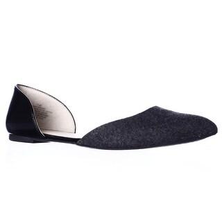 Nine West Starship D'Orsay Ballet Flats - Dark Grey/Black