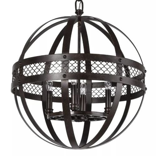"Park Harbor PHPL5194 20"" Wide 4 Light Chandelier with Globe Cage Frame - Thumbnail 0"