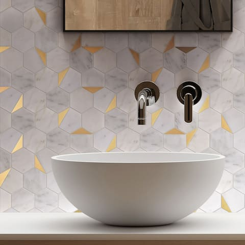 "TileGen. Natural Bianco 3"" x 3"" Hexagon Metal and Marble Mosaic Tile in Gold/White Wall Tile (10 sheets/8.5sqft.)"