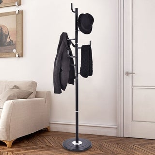 Costway 69'' Coat Stand Tree Rack Hat Holder Entryway Hanger Umbrella Clothes W/ 8 Hooks